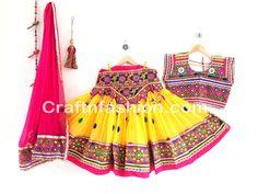 Bollywood Style Kutch Embroidered Mirror Work Lehenga Choli For Women #Craftnfashion #Chaniyacholi #GhagraCholi #KutchEmbroidered #GarbaDress #DandiyaDance #IndianTraditional #IndianEthnic #LehengaCholi Dandiya Dress, Garba Dress, Mirror Work Lehenga, Navratri Festival, Ghaghra Choli, Indian Wear, Indian Saris, Indian Dresses, Bollywood Fashion