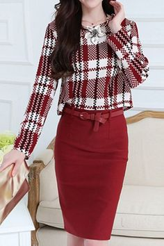 Trendy Long Sleeve Round Collar Plaid Packet Buttock Women's Suit
