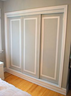 Closet Door Ideas: Add interest to plain closet doors by painting them and adding a trim detail in an accent color. Two-Tone Closet Door Tutorial. Hmm cheap way to redo our ugly closet doors Barn Doors Sliding, Remodel, Closet Door Makeover, Home, Painted Closet, House, Closet Bedroom, Door Makeover, Wardrobe Doors