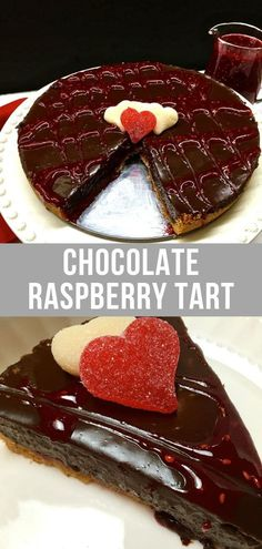Chocolate Raspberry Tart is the ultimate romantic dessert for the chocolate lovers in your life This easy recipe features a rich and decadent filling with two kinds of ch. Romantic Desserts, New Year's Desserts, Christmas Desserts Easy, Cute Desserts, Dessert Recipes, Dessert Ideas, Dessert Party, Romantic Dinners, Healthy Desserts