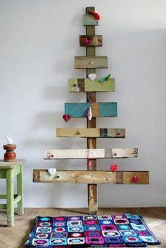alternative christmas tree design for wall decorating