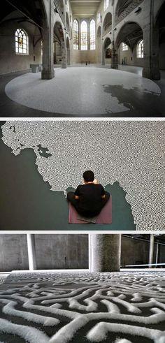 Salt Labyrinth by Japanese artist Motoi Yamamoto, can u imagine how long that… Land Art, Instalation Art, 3d Studio, Traditional Paintings, Japanese Artists, Conceptual Art, Art And Architecture, Installation Architecture, Art Plastique