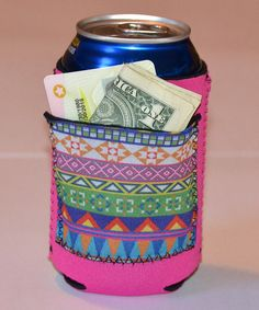 Look at this Pink Geometric Pocket Can Sleeve on #zulily today!
