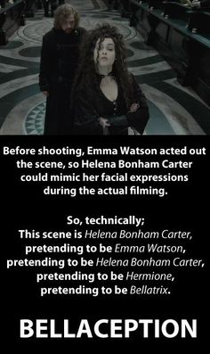 Hermione pretending to be Bellatrix :D