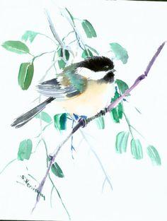 Chickadee art. watercolor chickadee, original watercolor painting, 10 x 8 in  Chickadee art. watercolor chickadee, original watercolor painting, 10 x 8 in $27.00