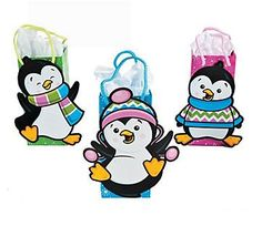 Penguin Shaped Party Treat Bags.  What surprises will these playful penguins have in store?  Delight your guests with these unique loot bags. Also great for Christmas time goodies