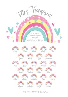 Teacher Personalised Lockdown 2020 Teacher Gift A4 Rainbow | Etsy