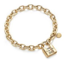 Tiffany Outlet 1837 Lock Gold Bracelet