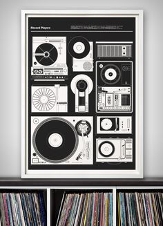 New print out today - 'Record Players' - 67 Inc. The fifth in our 'Blueprints' series celebrates vintage record players, inspired by the design of eight of the most iconic record players and turntables from the sixties to the eighties. From the classic simplicity of the Dieter Rams designed TP1 Portable for Braun to the iconic Technics SL-1200 turntable used by DJ's the world over, we have chosen eight examples that we feel represent important moments in record player history.