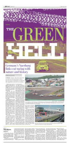 The Green Hell #Newspaper #GraphicDesign #Layout #Racing #Travel