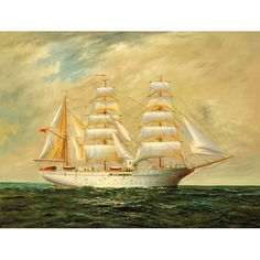 Full-Rigged Vessel at Sea Hand Painted Oil Painting for sale on overArts.com
