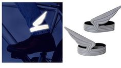 The Eno Windrider reflective bicycle pant clips are a funky cycling accessory. They were designed by Gijs Bakker and will literally give your feet wings. Bicycle Pants, Head Band, Drive A, Lifestyle Shop, Bike Parts, Baby Car Seats, Cycling, My Style, Pvc Material