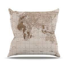 Emerald World by Catherine Holcombe Vintage Map Throw Pillow