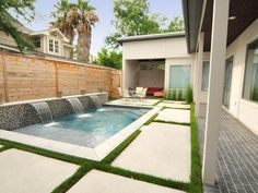 Minimal space?   No problem!  Gorgeous layout micro backyard with pool and waterfall element! - Design DCA