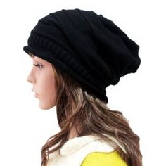 Fashionable Knitted Striped Solid Color Hat For Women