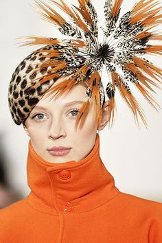 ralph_lauren orange black and white feather fur hat