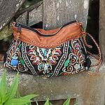 Leather accent shoulder bag, Mandarin Garden Bees