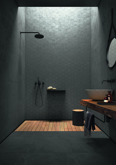 Concrete-look tiles from the Arnold Lammering tile studio. Arnold Lammering GmbH - Concrete-look tiles from the Arnold Lammering tile studio. Arnold Lammering GmbH Concrete-look tiles from the Arnold Lammering tile studio. Bathroom Design Luxury, Modern Bathroom Design, Home Interior Design, Minimalist Bathroom Design, Dream Bathrooms, Small Bathroom, Houzz Bathroom, Bathroom Black, Marble Bathrooms