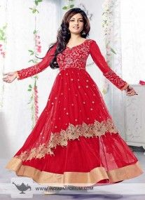 Red Semi Stitched Net Anarkali Suit