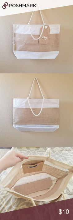 """💍Burlap """"Mrs"""" Tote💍 How cute is this """"Mrs"""" burlap tote?! Great carry all! I didn't use this as I had enough totes, it was given to me by my wedding invitation designer so it carried my invites to my car and inside my house. From there it remained in my closet empty so I could keep it in good shape! Non-smoking home. 💖  Dimensions: Strap 9"""" Bag height 13"""" Bag length 18.5"""" Bag width 5"""" Mudpie Bags Totes"""