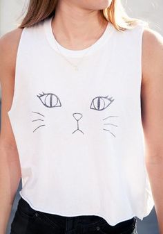 White Cat Print Round Neck Casual Cute Going out Vest