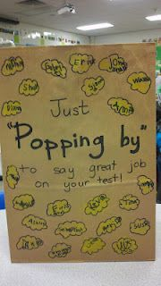 """Just popping by... really to do anything!  We did these as a """"great job"""" to our 6th grade buddies.  Filled a bag with FREE popcorn from local movie theater!"""