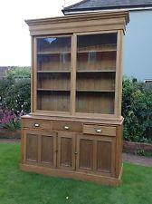 Large Antique Pine Farmhouse Glazed Dresser Display Cupboard