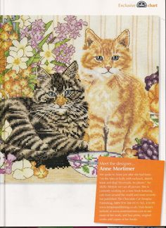 Cross Stitch Cats ANNE MORTIMER Design (1 Chart)