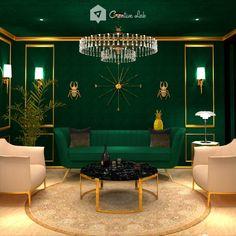 Mawi_LivingRoom LivingRoom By Creative Lab Malaysia(Home Creative Lab Sdn Bhd) on Portal Art Deco Living Room, Living Room Designs, Home Room Design, House Design, Dark Green Living Room, Indian Room, Art Deco Home, Furniture Decor, Sofa