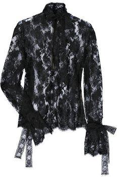 ShopStyle: Valentino Lace bow-embellished blouse
