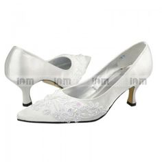ee9015e0221 Close Toe Kitten Heel White Satin with Appliqued And Beaded Bridal Shoes  Bridal Shoes