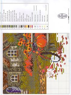 autumn story 5 Fall Cross Stitch, Cross Stitch House, Cross Stitch Tree, Cross Stitch Charts, Cross Stitch Designs, Cross Stitch Patterns, Felt Embroidery, Cross Stitch Embroidery, Cross Stitch Landscape