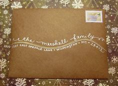 """My """"Shoreline"""" writing style on Kraft paper envelope with metallic inks.  www.bigflourish.com.  Calligraphy by Carrie"""