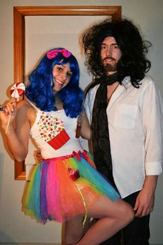 Katie Perry and Russel Brand! Easy diy couples costume idea!