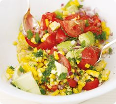 Cob Salad of Corn, Avocado & Tomato with Basil Oil is a delicious side with grilled chicken or steak, and great to take along to barbecues! www.annabel-langbein.com