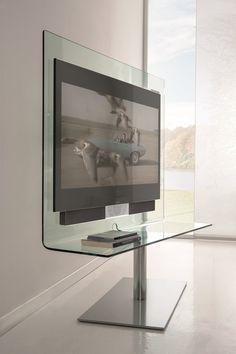 Tv Unit Design, Tv Wall Design, Dream Home Design, Modern House Design, Tv Wall Holder, Tv Stand Room Divider, Glass Tv Stand, Swivel Tv Stand, Tv Furniture