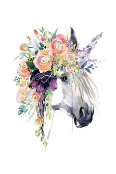 Are You Presently Interested In Watercolor Arts Ideas ? Take A Look At Our Web Site And Also Find Our Watercolor Art Album. Unicorn Horse, Unicorn Art, Watercolor Artwork, Watercolor Animals, Watercolor Images, Horse Flowers, Unicorn Illustration, Horse Art, Art Drawings