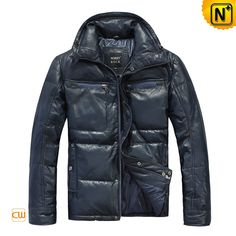 Men's Down Leather Jacket Classics Warm Down Padded Leather Coats CW874281 $776.67 - www.cwmalls.com