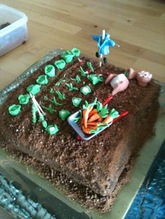 Peter Rabbit Cake with caramelised chocolate 'soil' and starburst buried carrots!