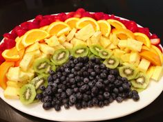 Rainbow fruit platter I would switch up the fruit though