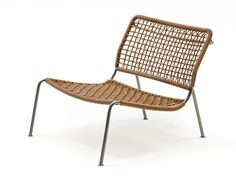 Frog chair by Piero Lissoni for Living Divani. 20th anniversary version in braided leather