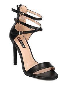 70013807278be DbDk EH34 Women Leatherette Open Toe Strappy Stiletto Sandal Black Size 10      Check