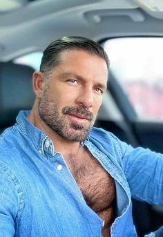Handsome Bearded Men, Scruffy Men, Hairy Men, Bear Men, Sexy Shirts, Beard No Mustache, Hairy Chest, Muscular Men, Hair And Beard Styles