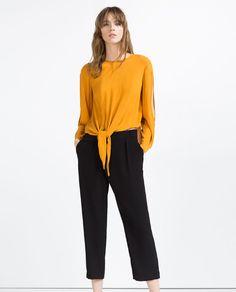 KNOT BLOUSE mustard yellow orange cold shoulder long sleeve $49.90   Zara