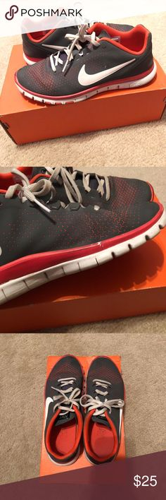 Women's Nike Free 3.0 Women's Nike Free 3.0. Grey with bright orange lining. Worn but in good condition. Comment with any questions :) Nike Shoes Athletic Shoes