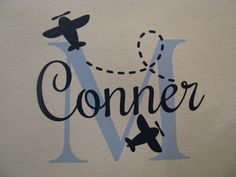 "Airplane Custom Name Wall Decal With Initial Baby Nursery Wall Art Vinyl Lettering Personalized 22"" High. $39.00, via Etsy."