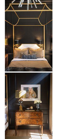 living-gazette-barbara-resende-decor-quarto-paredes-pretas-classico-cama-dossel-dourado