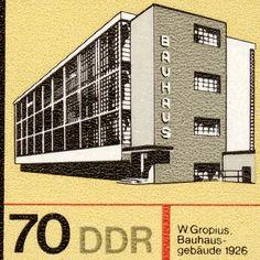 Bauhaus  Walter Gropius  10x8 Mounted Canvas Print  by pastpostage