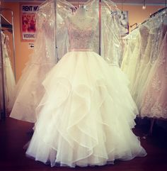 Mori Lee 2887 is one of our new Fall 2016 dresses and we are in love!  we love the beaded blush bodice and full skirt with elegant ruffles! Come to the Etobicoke location if you want to try this STUNNING dress! #wedding #weddings #torontobride #bride #bridal #weddingdress #weddingdresses #weddinggiwn #weddinggowns