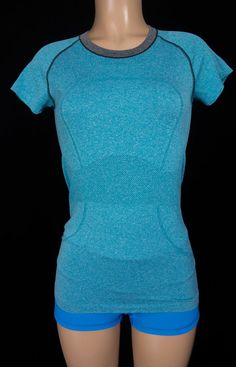 LULULEMON Run Swiftly Short Sleeve 6 S Small Turquoise Blue Gray T Shirt Yoga #Lululemon #ShirtsTops